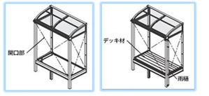 間口部・デッキ材・雨樋の取付図